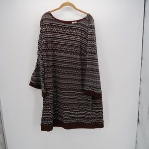 Emma & Michelle Knit 3/4 Bell Sleeve Tunic Dress